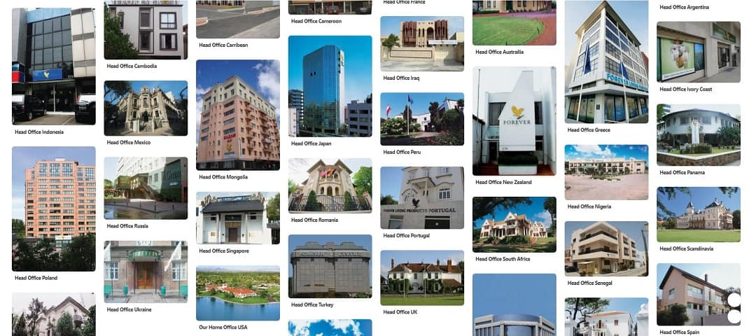 some of the international offices from Forever Living Products